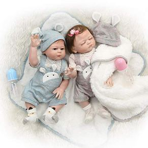 iCradle Muñecas 20Inch 50CM Muñecas para bebés Reborn de Aspecto Real Muñecas de Silicona Suave para bebés Muñecas adorables para niñas gemelas para Mayores de 3 años (Twins)