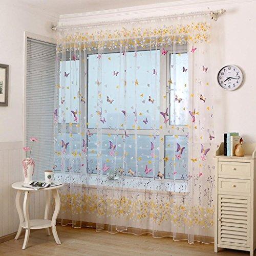 Ouneed 1PC Ventana de las pantallas de mariposa puerta balcón cortina (Rosa caliente)