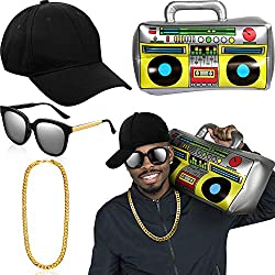 Hip Hop Traje Kit Inflable Boom Box Sombrero Gafas de Sol Cadena de Oro (Gorra de Beisbol)