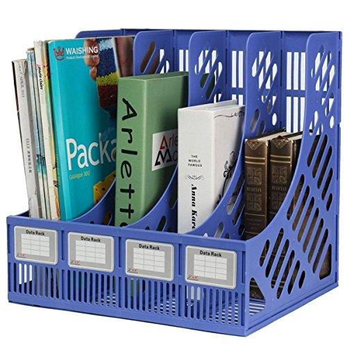 Techsun 4 Compartments Plastic File Rack Paper Magazine Holder/Desk Book Sorter/Storage Display Bin Desktop Shelf Dividers Cabinet Document Tray Organizer