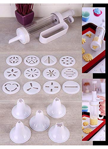 WHOLE MART® Cookie Biscuit Making Maker Pump Press Machine Decor Kitchen Mold Tools Set Purple Plastic