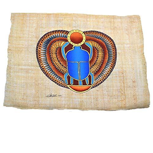 Papiro egipcio con imagen de escarabajo