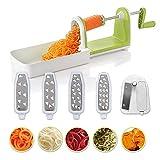 Twinzee Kompakter Gemüse Spiralschneider mit 5 Klingen und Saugnapf 5 Schnell auswechselbare...