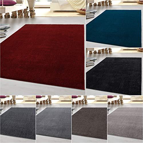 HomebyHome tappeto moderno a pelo corto, economico, tinta unita mélange, per salotto, camera da...