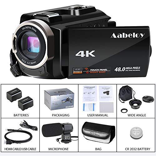 Caméscope 4K Vlogging Caméra Vidéo Ultra HD Wi-Fi Appareil Photo Numérique 48MP 3'' écran Tactile Vision Nocturne 16X Enregistreur de Zoom N... 29