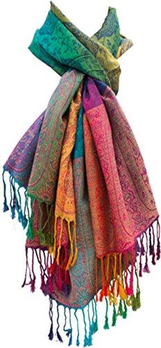 "Damen Schal\""Marokko\"" Regenbogen-Farben Pashmina - Viskose/Polyester - xxl 180 x 60 cm bunt/mehrfärbig"