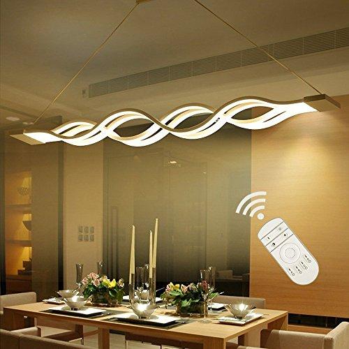 Modern LED Pendelleuchte Design Pendellampe Metall Decken Hängeleuchte Esstisch Dekorative Fisch Kronleuchter Kreative Hängelampe Esszimmer Leuchte Dimmbar mit Fernbedienung 105cm*11cm