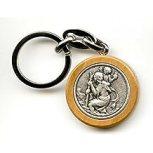 Porte clés rond bois d'olivier Saint Christophe (livraison gratuite)