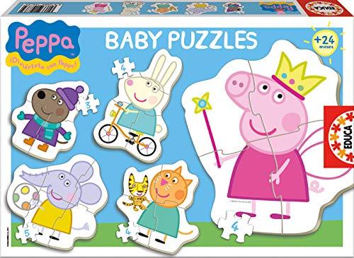 Educa-Borras - 15622, Set di 5 puzzle con pezzi grandi, motivo: Peppa Pig, 24+ mesi