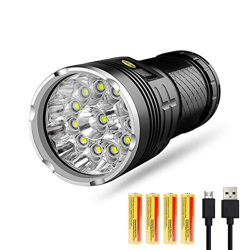 XZANTE Torcia a LED 10000 Lumen,12xxm-L T6 LED 4 modalità Torcia Tattica Super Bright,Luce Palmare...