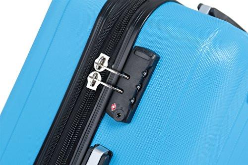 TSA-Schloß 2080 Hangepäck Zwillingsrollen neu Reisekoffer Koffer Trolley Hartschale XL-L-M(Boardcase) in 12 Farben (Türkis, Set) - 3