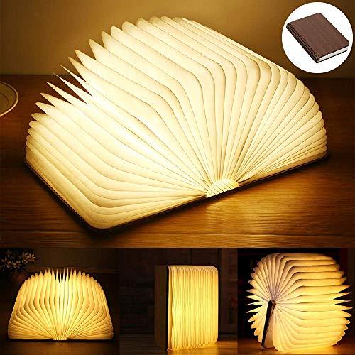 Yuanj Lampada Libro USB Ricaricabile Pieghevole in Legno Magnetico LED Light del Libro di Lamp -...
