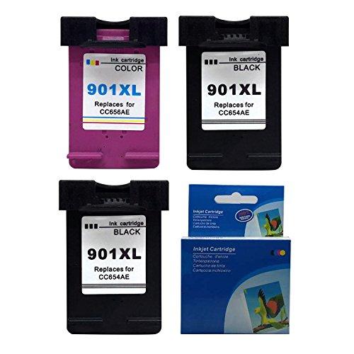 Kyansin Compatibile Cartucce d'inchiostro 901XL CC654AE (3-Pack,2 Nero + 1 Colore) Sostituzione per...