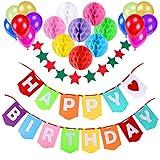 """Decoración Cumpleaños, Aitesco 1 Bandera Banderines """" Happy Birthday"""" + 8 Pompón Bola de Honeycomb + 1 Bandera de cadena de estrellas + 12 Globos Perlados, Party Supplies"""