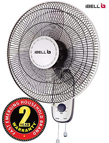 iBELL WF9816 Wall Fan 3 Leaf, 406mm, Low Noise Motor,High Speed, Black and Ivory