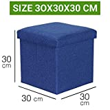 Sterling Foldable Ottoman Storage Box Cum Stool - Linen Fabric Foldable Basket Cubes Organizer Boxes Containers Drawers with Lid (Multi-Color 30 X 30 X 30 cm)