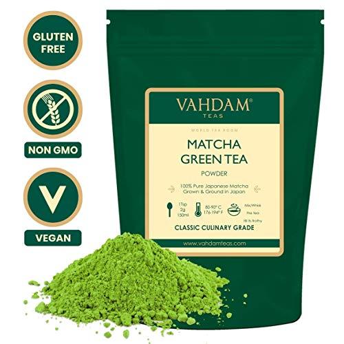 VAHDAM, Matcha-Grünteepulver (100gr 50 Tassen), 100{bef637a0f358a9edcdc980728e026f8bf66d11e35c78d85858aa44842edd40f5} zertifiziertes reines und ungemischtes japanisches Matcha-Pulver, klassischer kulinarischer Matcha-Tee | 137x Anti-OXIDANTS | Steigert die Energie