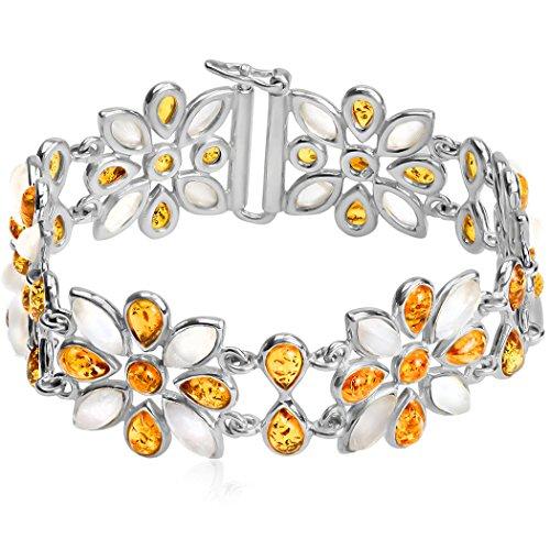 Ciondolo in argento Sterling con ambra multicolore grande fiore bracciale 20cm