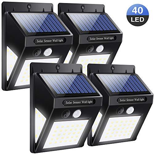 Solarleuchte für Außen 40 LED   4 Stück LED Solarlampen mit Bewegungsmelder   Superhelle Solarleuchte mit 2 Modi   270 °Weitwinkel, IP64, 1200mAh   Solar Wandleuchte für Garten, Hoftür   SOLMORE