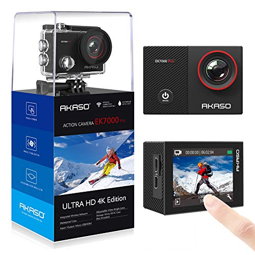 AKASO Action Cam 4K WiFi,Touch Screen,Telecomando,Angolo Variabile,Giroscopio Antitremore,Fotocamera...