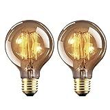 Bombilla E27 Vintage Edison Lamparas Antigua Bombillas Retro Decorativas Regulable Lampara Bulbo Filamento G80 40W Blanco Cálido - 2 Piezas