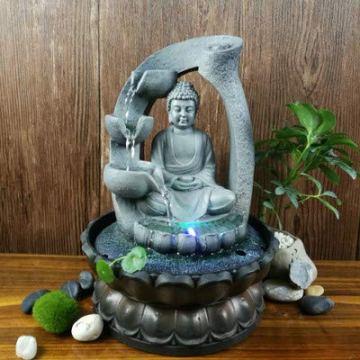 SPYXGS Artesanías del Sudeste Asiático Modelos Creativos Estatua De Buda Resina Agua Adornos Agua Paisaje Reclutar Propiedad Fuente 9