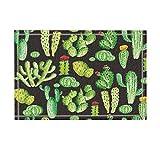 Alfombra Cactus Negra Con Diseños En Tonos Verdes