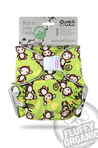 Petit Lulu Pannolino Mutandina Bambù Fitted Taglia Unica | Hook & Loop | Fluffy Organic | Pannolini di stoffa | Pannolini lavabili (Monkey Business)