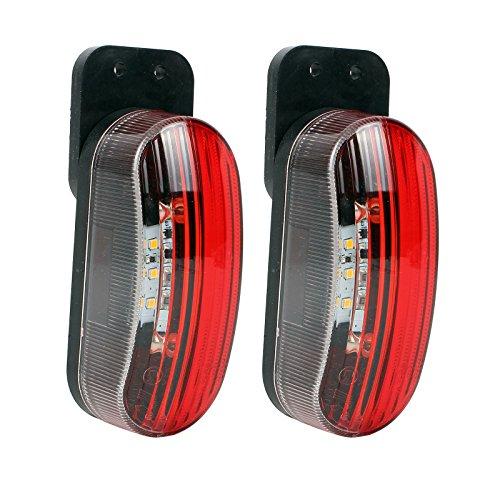 Luce di ingombro LED 12V Luce di posizione 2° set rosso/bianco 98x42x38mm, 12/24Volt,...