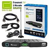 HB DIGITAL DVB-T/T2 Set: Skymaster DTR5000 DVB-T/T2 Receiver, kartenloses Irdeto-Zugangssystem für freenet TV Stabantenne, passiv, mit Magnetfuß (Full HD, HEVC/H.265, HDTV, HDMI, USB DVBT2 DVB-T2)