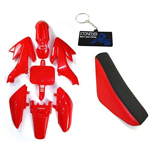 STONEDER plastica carenatura nero-rosso Tall schiuma sella per XR50CRF50Pit Dirt bike...