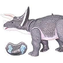 RCTecnic Dinosaurio Juguete Teledirigido Triceratops Para Niños Mando Radiocontrol Fácil Muy Realista Con Rugidos Reales. Mueve Las Patas al Andar y la Cabeza Con Movimiento, Luz y Sonido