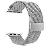 TiMOVO Cinturino per Apple Watch 42mm, Braccialetto a Maglia Milanese in Acciaio Inox con Regolabile Chiusura Magnetica per Apple Watch 42 mm Series 3/2/1,(NON per a 38mm), Argento