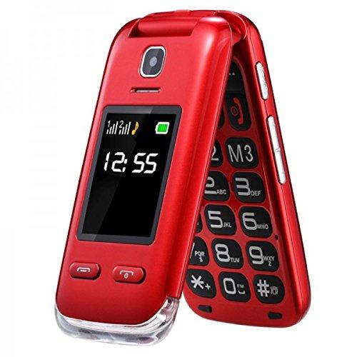 Eg520Senior débloqué GSM téléphone Portable, Bouton SOS, Compatible avec Une Aide auditive Rouge 24