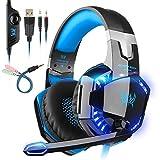 EACH Cuffie Gaming Headset Mac Stereo con microfono Gioco Cuffie da gioco con jack da 3,5 mm LED a basso rumore Compatibile con PC Xbox One, PS4, Mobile , Nintendo ,Nero-blue