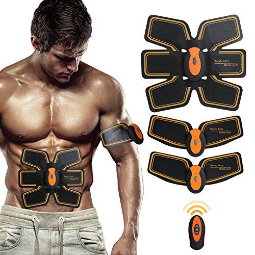 Appareil Abdominaux Unisexe,SHENGMI Smart Ceinture d'électrostimulation Abdominal Massage Musculaire Bras Multiple Endroit Fitness ou Cuisses Entraînement Muscle Abdominale Sans Fil pour (Orange)