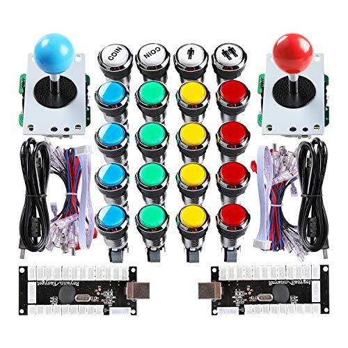 Hikig Kit Fai da Te Arcade Machine 2X Encoder USB a Ritardo Zero + 2X Joystick a 8 Vie + 16 Pulsanti Cromati e Pulsanti Moneta 1P / 2P per Mame PC Windows e Raspberry Pi Projece