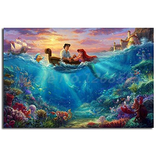 N / A Innamorarsi della Sirenetta Wall Art Pittura Soggiorno Immagine Famiglia Decorazione Regalo di Natale Pittura Frameless 60cmX90cm