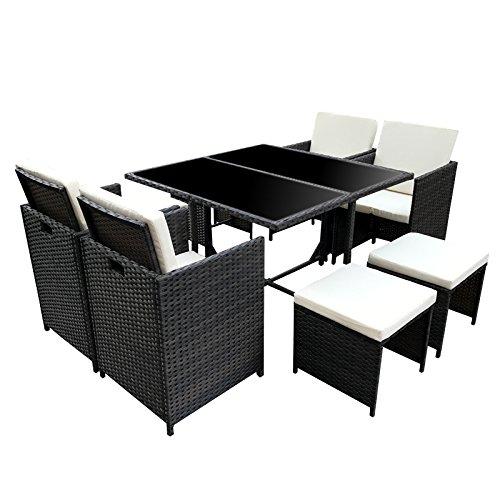 SVITA Garnitur Gartenmöbel Sitzgruppe Lounge (4 Stühle, Schwarz)