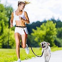 Splink Manos Libres Correas para Perros con Cinturón y Estuche de Cremallera Estirable y Amortiguador de Chouque para medianas y grandes perros para correr, caminar y senderismo