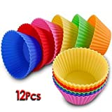 Bestofferbuy - 12Pcs Moule En Silicone Pour Muffins, Cupcake, Gâteau Rond Et Gelée