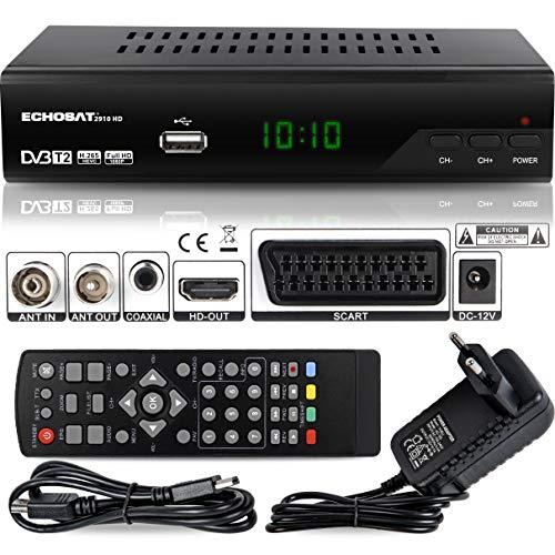 Echosat 2910 S DVB-T/T2 Digital Receiver - ✓Full HD [ 1920 x 1080 ] ✓HDMI ✓MPEG-4 ✓AVC ✓MPEG-2 MP ✓1080i ✓1080P Standart ✓Scart ✓Einfache Installation { HEVC - H.264 H.265 } - TNT Terrestrisch