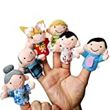 Marioneta, K-youth 6 PCS Marionetas de Dedo Familiares - Incluyen Madre, Padre, Abuelo, Abuela, Hermano, Hermana con Lazo de Cable (6 PCS)