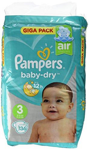 Pampers Baby Dry Taglia 3, Midi 6-10kg Giga Pack, confezione 136pezzi