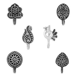 Om Jewells Silver Oxidised 6 Pc Combo of Designer Indo Western Press on Nose Pin/Nose Ring for Girls and Women CO1000178 6  Om Jewells Silver Oxidised 6 Pc Combo of Designer Indo Western Press on Nose Pin/Nose Ring for Girls and Women CO1000178 51tIH3ccbcL