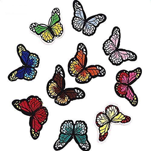 mariposa de costura Wicemoon, hierro en parche, bordado para ropa, insignia, accesorios, 10piezas (multicolor).