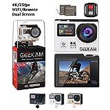 CAMKONG 4K Action Cam WiFi Sport Camera con Custodia Impermeabile 12 MP 170¡ã Grandangolare 2.0 Pollici Due 1350mAh Batterie e Kit Accessori con Pacchetto Portatile (Nero)