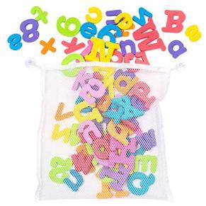 100 Juguetes de Baño y bañera - Adecuados para Niños y Bebés - 26 Letras del Alfabeto en espuma de Colores Brillantes - Perfecto para jugar y aprender.