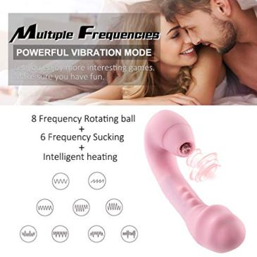 Powerful Sucking Toys,Waterproof Handheld Wand Massager with Heating, Medical Silicone,