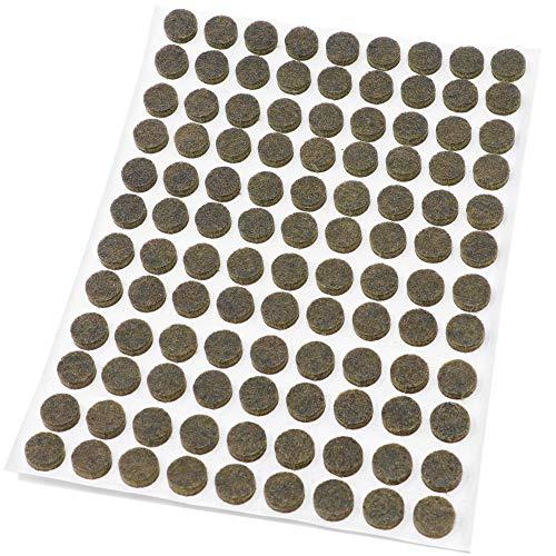 108 x Feltrini | Ø 10 mm | marrone | tondi | Piedini mobili in feltro autoadesivo di 3.5 mm di...